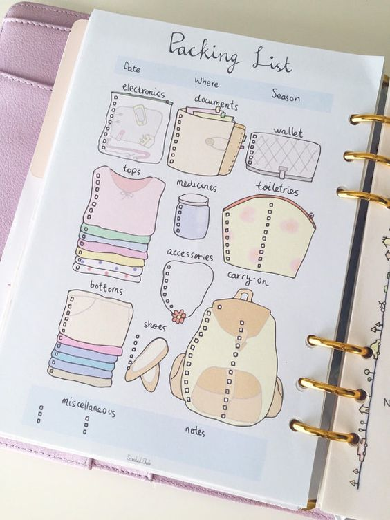 lista de viajes bullet journal